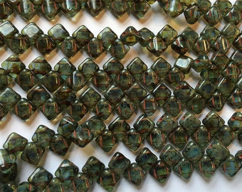 Sapphire Travertine Picasso Two Hole Silky Czech Pressed Glass 6mm Two Hole Angled Square Beads 40 pcs