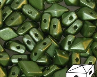 Diamonduo Pastel Olivine Green Pressed Glass Diamond Duo Two Hole Seed Beads 5x8mm 50 pcs
