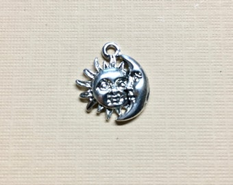 Sun and Moon Face Silver Plated Charm Pendant Solar Celestial Charm 17mm x 22mm Made in the USA One Charm