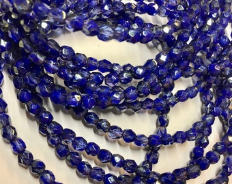 4mm Indigo Opaque and Transparent with Golden Luster Czech Glass Fire polished Crystal Beads 50 beads