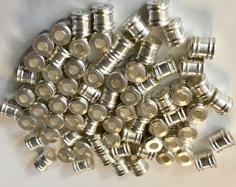 Silver Plated Brass Tube Beads with Double Rings 5mm x 6mm 12 pcs F523