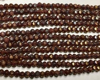 Matte Metallic Bronze iris Czech Pressed Glass Tiny English Cut 3mm Approx. 50 beads