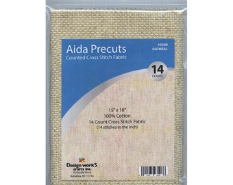 "Design Works Aida Precuts Cross Stitch Needlework Fabric Oatmeal Premium Quality 100% Cotton 14 Count 15"" x 18"" Made in the USA"