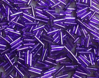 Bugle Beads 6mm Purple Violet Silver Lined Japanese Glass Bugles 28 grams #26