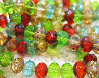 Mix of Peridot Red Aqua Czech Pressed Glass Large Faceted Rondelles 6mm x 8mm with Picasso