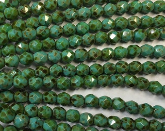6mm Turquoise Opaque Picasso Czech Glass Fire polished Crystal Beads 25 beads