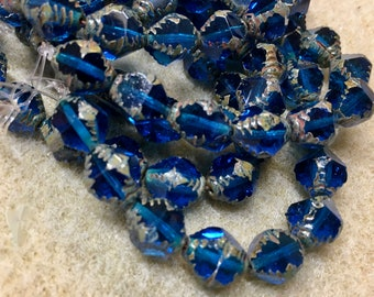 15 Capri Blue Carved Czech Glass Faceted Bicone Beads 10mm x 8mm 15 pcs