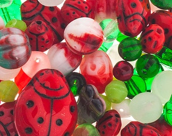 Ladybird Garden Czech Glass Bead Assorted Bead Mix Red Green 50 grams