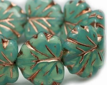 Sea Green with a Copper Wash Czech Pressed Glass Maple Leaf Beads 10 x 13mm 20 beads