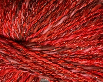 Coral DK Weight Yarn by On Line Red Pink Cotton Acrylic Polyester Metallic Silver Sparkle 165 yards color 06
