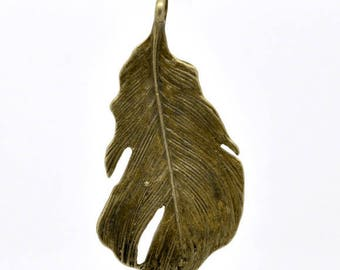 Clearance Feather Pendant Charm Antique Bronze Double Sided 50x25mm C196C