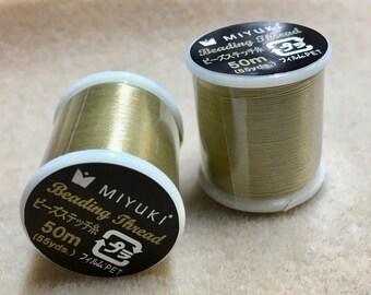 Khaki Miyuki Nylon Japanese Beading Thread 55 yards