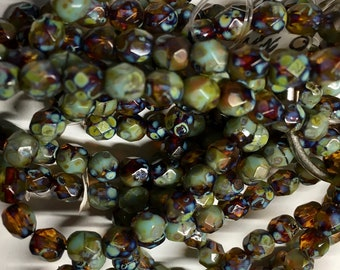 6mm Sky Blue Amber Picasso Czech Glass Fire polished Crystal Beads 25 beads