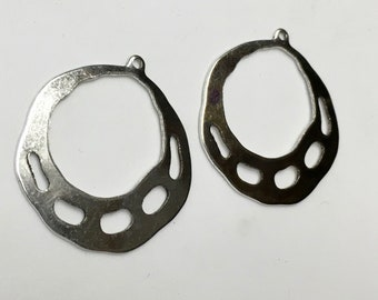 2 pairs Silver Plated Earring Hoops Brass Art Deco 33x36mm 4 pcs F249B