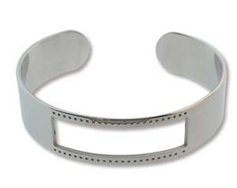 Rhodium Silver Plated Stainless Steel Beadable Centerline Bracelet Cuff Adjustable for Beading with 1mm Holes 7 beads Across Two Sizes