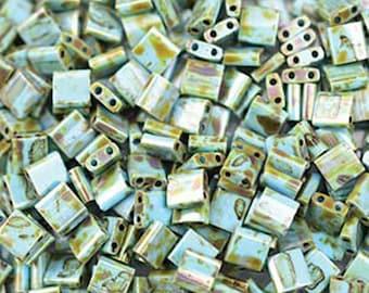 Picasso Seafoam Green Matte Miyuki 5mm Square Two Hole Tila Beads 7.2 grams TL4514