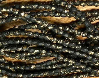 50 3mm Matte Black Opaque Czech Glass Firepolished Crystal Beads with Gold Finish 3mm Approx 50 beads