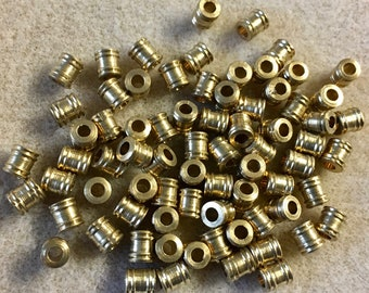 Brass Tube Beads with Double Rings 5mm x 6mm 12 pcs #F523B
