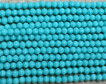 Turquoise 3mm English Cut Czech Pressed Glass 50 beads