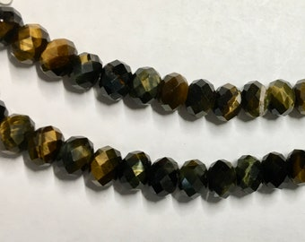 Tigerseye Gemstone Beads Faceted Rondelles 8x5mm 8 inch strand Approx 34 pcs per strand