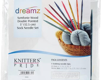 Double Pointed Needles Knitter's Pride Symfonie Sock Set Knitting 5 inch Long Sizes 0 to 4 with Storage Case Great Gift for Sock Knitters