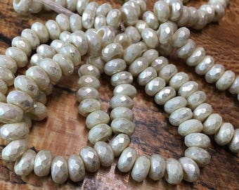 Ivory Opaque Czech Pressed Glass Large Hole Faceted Roller Beads with Mottled Silver Mercury Look Finish 6mm x 9mm 25 beads
