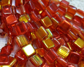 Red Yellow Luster Metallic Czech Mates Two Hole Tile Beads Czech Pressed Glass Square Beads 6mm