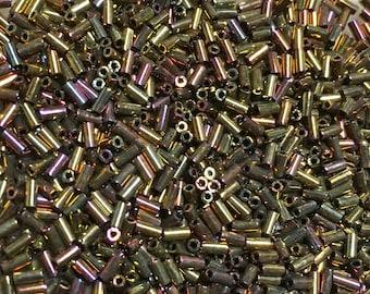 Gold Iris Japanese Glass Bugle Beads 3mm 28 grams #462D