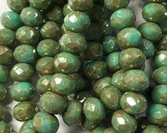 Mint Green Czech Pressed Glass Medium Faceted Rondelles with Picasso Finish 5x7mm 25 beads