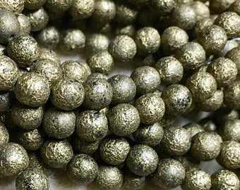 Dark Gold Etched Finish 6mm Czech Pressed Glass Round Druk Beads 30 beads