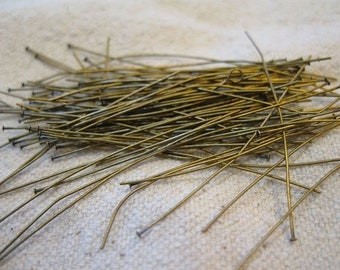 2 Inch Antique Brass Two Inch Headpins 24 gauge Approx. 48 pcs Made in the USA F324