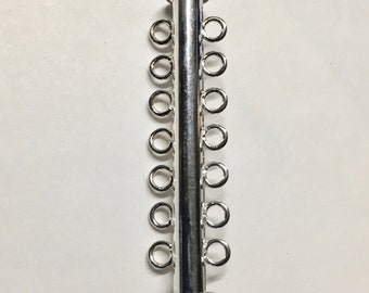 """2 Silver Plated Brass 7 Strand Slide Clasps 41mm 1-5/8"""" Slide Tube Clasps F472D"""