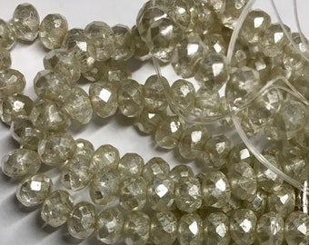 Transparent with Silver Mercury Finish Czech Pressed Glass Small Faceted Rondelles 3mm x 5mm 30 beads