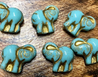 Elephant Turquoise with Gold Detail Czech Pressed Glass Animals Elephants Beads with Gold Inlay 20x23mm