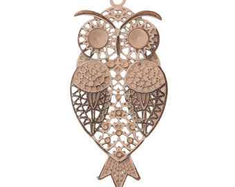 Owl Pendant Peachy Beige Enameled Antique Copper 82mm x 40mm One Pendant F563