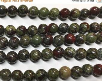 ON SALE Dragon Blood Jasper 8mm Gemstone Rounds Approx 25 beads 8 Inch strand