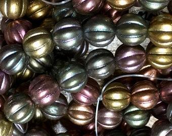 8mm Melon Beads Metallic Mix Czech Pressed Glass Round Corrugated Melon Beads 8mm 20 beads