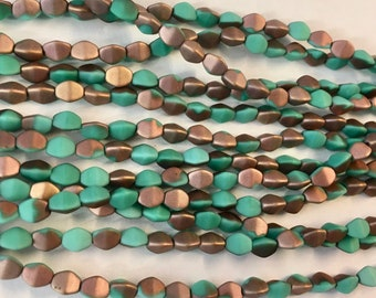 Pinch Beads Matte Apollo Turquoise Czech Pressed Glass 5x3mm 50 beads