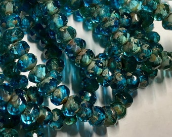 Transparent Turquoise Aqua with Picasso Finish Czech Pressed Glass Small Faceted Rondelles 3mm x 5mm 30 beads