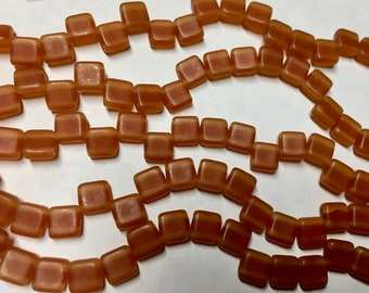 Orange Gold Luster Czech Mates Two Hole Tile Beads Czech Pressed Glass Square Beads 6mm