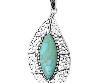Clearance Leaf Pendant Charm Antique Silver Imitation Turquoise Hollow Light Blue Resin 80mm One Pendant