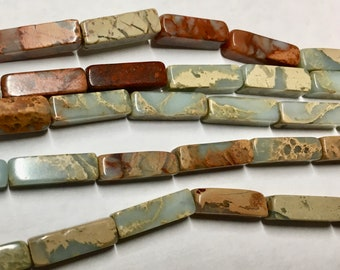 Snakeskin Jasper Gemstone Tube Beads 13x4mm Approx 15 beads per 8 inch Strand