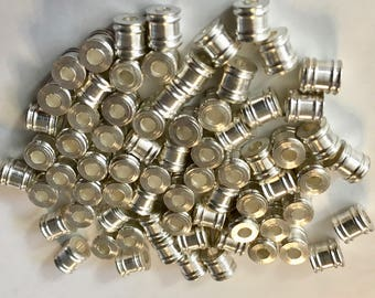 12 Silver Plated Brass Tube Beads with Double Rings 5x6mm F523