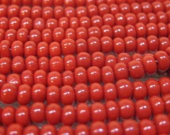 6/0 Red Opaque Preciosa Czech Glass Seed Beads 12 grams