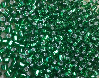 8/0 Silver Lined Green Japanese Glass Rocaille Seed Beads 6 Inch tube 28 grams #16