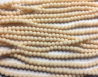 Cultured Sea Glass Beads 48 Opaque Peach 4mm Round Beads