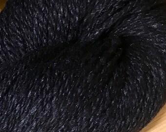 Obsidian Black Kathmandu DK 100 by Queensland Collection Merino Wool Silk Cashmere Tweed 295 yards DK Weight