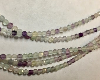 Rainbow Fluorite 2mm Faceted Gemstone Round Beads Approx 80 Beads