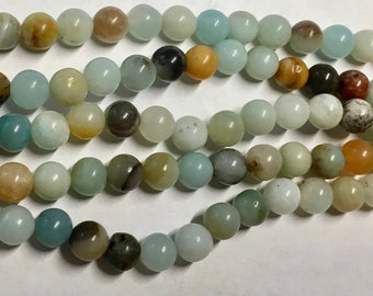 Amazonite Multi Color Gemstone Beads 6mm Rounds Beads Approx. 32 beads