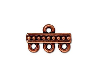 2 Antique Copper Links Tierra Cast 3-1 Three Strand Connector Beaded Pattern Double Sided 15x10mm Two Connectors 2 pcs